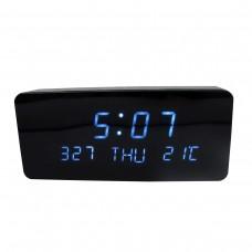Relógio, Despertador e Sensor de Temperatura em MDF com Led Azul e Corpo Preto - LMS-R1501AP