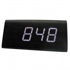 Relógio, Despertador e Sensor de Temperatura em MDF com Led Branco e Corpo Preto - LMS-R1290BP
