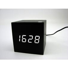 Relógio, Despertador e Sensor de Temperatura em MDF com Led Branco e Corpo Preto - LMS-R1293BP