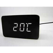 Relógio, Despertador e Sensor de Temperatura em MDF com Led Branco e Corpo Preto - LMS-R1294BP