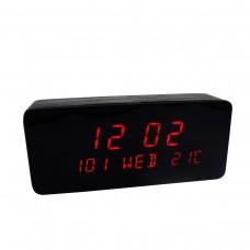 Relógio, Despertador e Sensor de Temperatura em MDF com Led Vermelho e Corpo Preto - LMS-R1501VP