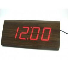Relógio, Despertador e Sensor de Temperatura em MDF com Led Vermelho e Corpo Marrom - LMS-R1290VM