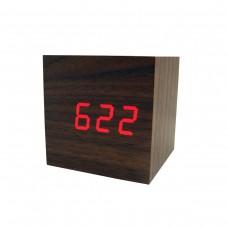 Relógio, Despertador e Sensor de Temperatura em MDF com Led Vermelho e Corpo Marrom - LMS-R1293VM