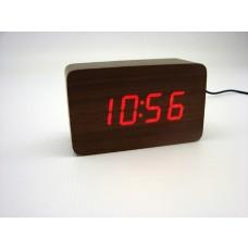 Relógio, Despertador e Sensor de Temperatura em MDF com Led Vermelho e Corpo Marrom - LMS-R1294VM