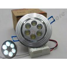 Spot Direcionável 6 watts com driver bivolt - Branco Frio com Suporte Prata Escovado