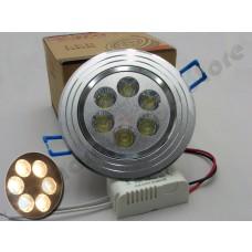 Spot Direcionável 6 watts com driver bivolt - Branco Quente com Suporte Prata Escovado
