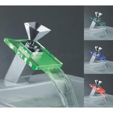 Torneira para banheiro com cascata de vidro e LED - LMS-007B