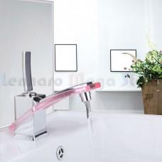 Torneira para Banheiro com misturador, monocomando com detalhe em acrílico Vermelho - LMS-8128R
