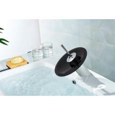Torneira para Banheiro com Cascata de Vidro PRETO, Monocomando com Misturador - LMS-1202P