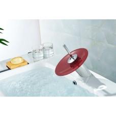 Torneira para Banheiro com Cascata de Vidro VERMELHO, Monocomando com Misturador - LMS-1202VM