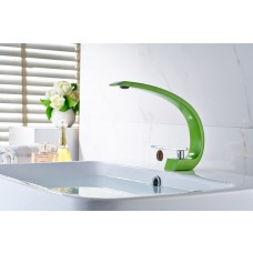 Torneira para Banheiro com Aerador, Cromado e Verde, Monocomando com Misturador - LMS-10019V