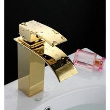 Torneira para Banheiro Dourada com Bica, Monocomando com Misturador - LMS-1225G