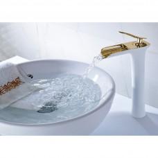 Torneira para Banheiro Branca e Dourada com Bica, Monocomando com Misturador - LMS-XDL-007WG