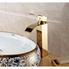 Torneira para Banheiro Dourada com Bica, Monocomando com Misturador para Cuba Elevada - LMS-1226G