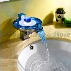 Torneira para banheiro com cascata de metal e LED - LMS-2013