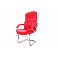 Cadeira Presidente Interlocutor Almofadada para Escritório Vermelha com Base Fixa - LMS-BY-8-661-1-F