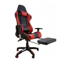 Cadeira Gamer Giratória com Regulagem de Encosto e Braços + Descanso para Pernas - Preta e Vermelha - LMS-BY-8-182-T2