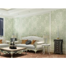 Papel de Parede - Verde com Detalhes em Branco - Rolo com 10m x 53cm - LMS-PPY-YW100-520205